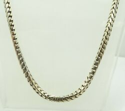 10k White Gold 3.4mm Thick Squared Wheat Link Chain Necklace 18.5 32.8g D9303