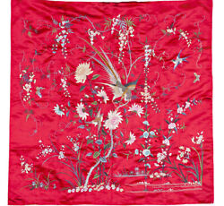 Fine Antique Vintage Chinese Canton Embroidered Silk Piano Shawl