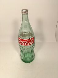 Vintage 1972 Coca Cola Coke 32 Oz 1 Qt 12 Tall Old Clear Green Glass Bottle