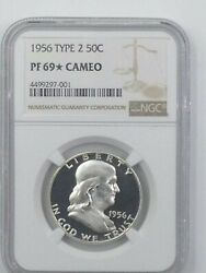 1956 Type 2 Proof 69 Star Cameo Franklin Pf 69. Ultra Cameo Plus Obverse.