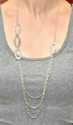 Retired Silpada Sterling Silver Triple Hammered Oval Link Necklace N1720 32