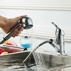 Kitchen Sink Chrome Single Handle Mixer Tap Swivel Pull Out Spray Faucet New