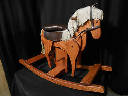Wooden Galloping Rocking Horse Hobby Horse Solid Oak Kids Toy Harvest Stain