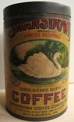 Vintage Swansdown Coffee One Pound 1lb Advertising Can Pittsburgh Pararescarce