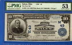 10 First National Bank Salem Ohio Chapter 43 National Currency Pmg 53