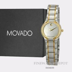Authentic Movado Two Tone Stainless Steel Women's Sprita Mop Dial Watch 0604688