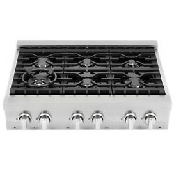 Cosmo 36 in. Slide-In Gas Cooktop in Stainless Steel with 6 Italian Made Burners