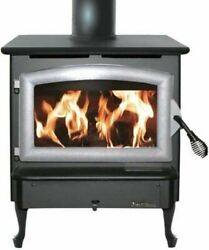 Nc Wood Burning Stove W/ Pewter Door And Large Queen Anne Black Legs
