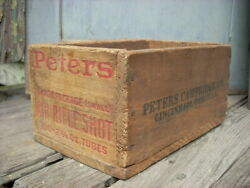 Vintage Peters Air Rifle Shot Wooden Ammo Box Crate Original Nice 9.5 X 6