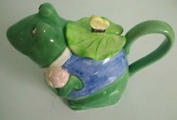 90s Vintage Tea Pot Frog With Lily Pad Top Design By Mary Ann Baker