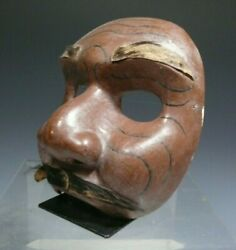 Bali Balinese Carved Polychrome Wood Mask W/ Hair Attachments Ca. 20th C.