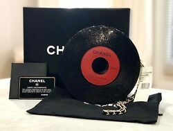 NWT CHANEL Black Patent Leather Record Clutch Round Circle Bag 2004 RARE