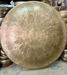 70 Cm Large Gong From Nepal Special Hand Carve With Various Ritual Art Gong Bell