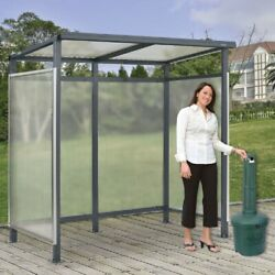 New Shelter Flat Roof 3-side Open Front With Green 5 Gallon Outdoor Ashtray