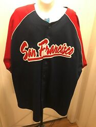 Mens Xl Lee Sport San Francisco Stitched Baseball Jersey Red White Blue