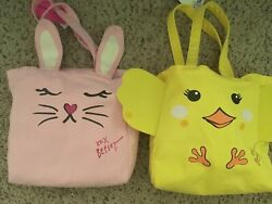 LUV BETSEY JOHNSON Canvas Totes PINK BUNNY amp; YELLOW CHICK New $24.94