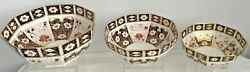 Extremely Rare Set Of 3 Royal Crown Derby 2451 Stacking Centrepiece Bowls
