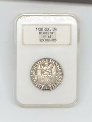 1928 Germany 🇩🇪 3 Mark 1000th Anniv Founding Dinkelsbuhl Silver Coin Ngc Pf 65