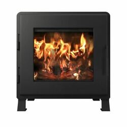 Mf Fire Charcoal Nova Wood Stove With Satin Black Door And Room Blower Fan