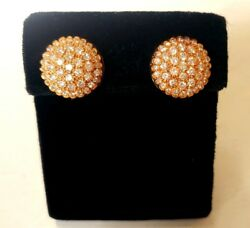 Great Pair Pave Diamond Clip Earrings 2.5 Carats In 14k Yellow Gold