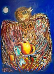 Auguste Blackman And039suppertimeand039 Original Large Signed Painting Bird-son Of Charles