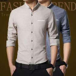 Retro Mens Slim Fit Leisure Business Top Casual Long Sleeve Formal Dress Shirts