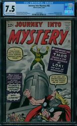 Journey Into Mystery 85  CGC 7.5  1st Loki  ow/w pages!