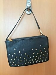 NEW Fossil Large Zip Wristlet Black Gold Silver Studs Clutch Purse Wallet NWT