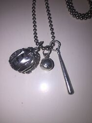 """Sterling Silver 24"""" Chain W/ 3 Sterling Silver Baseball Charms"""