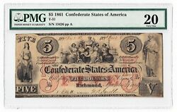 T 31 1861 Csa Five Dollar Note Pmg 20 Previously Mounted No.13426