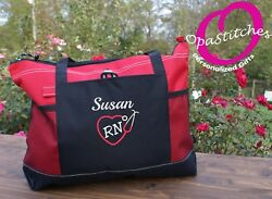 Personalized embroidered Nursing tote bag  medical tote RN LPN CNA gift