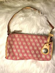 NWOT Dooney and Bourke Small Barrel Canvas & Leather bag Pink DB Logo $198 Value