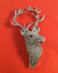 Vintage Christmas Jewellery Large Silver Reindeer Czech Crystals Coat Brooch Pin