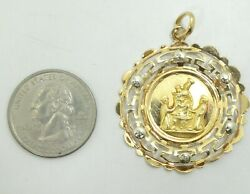 18k Yellow And White Two Tone Gold Religious Nativity Pendant 1.5 Inch 6.2g D9639