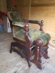 Antique Theo A Kochs Wooden Barber Chair Vintage Wood