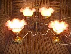 Old Fenton Peach Blow Silver Crest 3 Lamps Set-pair Table Lamps And Wall Lamp