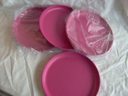 Tupperware 9 1/2 Round Plates Set 4 Lunch Dinner Dishes 6217 Fucia Pink Picnic