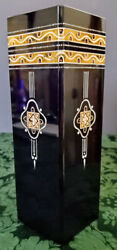 Josef Riedel Art Glass Amethyst Square Double Cased Enamel Gilded Rare 1880and039s