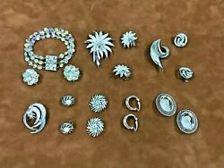 Antique/vintage Lot Silver-toned Jewelry Sets Earring Clips, Bracelet, Pins