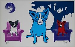 George Rodrigue Blue Dog Waiting For My TV Dinner White Silkscreen Print Signed