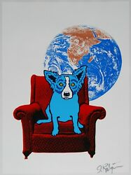 George Rodrigue Blue Dog Space Chair White Silkscreen Print Signed Numbered Art