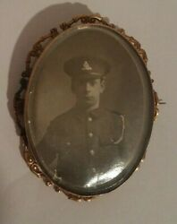 Rare Vintage British Officer Photo Brooch Pin Antique Military Collectible