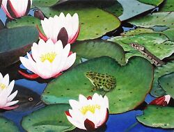 Signed Original Wildlife Painting, Lily Pad Life. 12 X 16 By Michael Winston