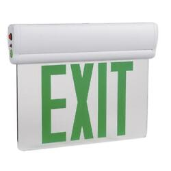 3w Edge Lit Green Led Exit Sign - Surface Mount With 90-min Battery Backup Ul
