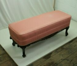 Lovely Carved Window. Bedroom. Bench With Pink Upholstery 1930