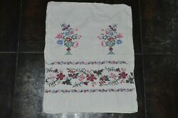 Vintage Pillowcases Handwork Embroidered Linens Floral Embroidery Old Soviet