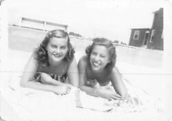 Best Friends Sunny Day At The Beach Gorgeous Women Swimsuits Vtg Photo 182