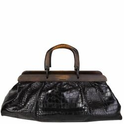 57539 auth GUCCI black soft CROCODILE Wooden Handle Doctor Bag