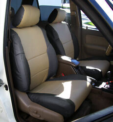 TOYOTA 4RUNNER 1996 2002 BLACK BEIGE S.LEATHER CUSTOM MADE FIT FRONT SEAT COVERS $149.00