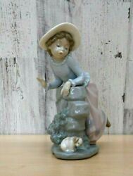 Nao By Lladro Girl Leaning On Wall With Her Puppy Su150 Glazed Porcelain